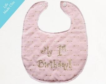 "BIRTHDAY  BABY BIB, Baby Girl Bib in a Soft Pastel Pink with Gold Metallic Arrows & ""My 1st Birthday!"" Soft and Fluffy Back, Tribal Baby Bib"
