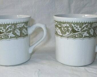 2 J&G Meakin Staffordshire Sterling RENAISSANCE Flat Cups, Green Borders (c. 1970s)