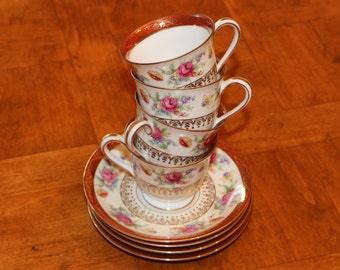 Noritake China Traditional Pattern N735- Four Demitasse Cup and Saucer Sets