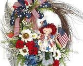 Patriotic Wreath, Front Door Wreaths, Summer Door Wreath, Patriotic decor, Americana Wreath, Primitive Wreath, Flag Wreath, Americana decor