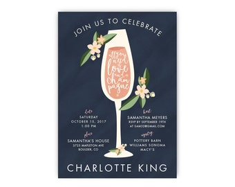 Wedding Shower Invitation - All You Need is Love & Champagne