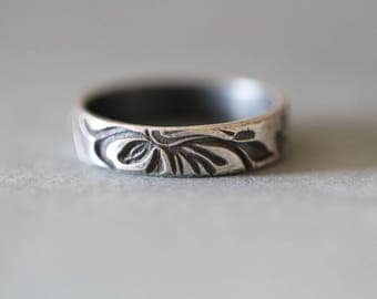 BELIZE:  Botanical Wedding Band, Wide Band, Embossed, Rustic, Sterling Silver, Wedding Ring, Rustic, Floral, His and Hers