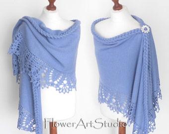 Blue Wedding Wrap, Bridal Shawl, Bridal Cover Up, Wedding Bolero, Light Blue Shrug, Crochet Shawl, Capelet, Bridal Cape, Bridesmaid shawl.