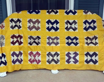 1970's Quilt Topper - UNUSED - Hand Made, Cotton, Yellow Navy Red - Vintage - Fabulous!