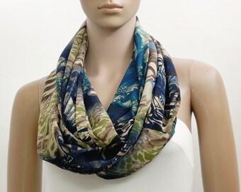 Blue Scarf Green Infinity Scarf Fashion Scarves Scarf Shawl Cowl Scarf Tube Scarf Multicolor Scarf Summer Scarf Gift for her Handmade  Scarf