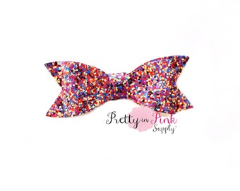 "3"" Red/Purple/Blue/Gold - Multi-Color Chunky Glitter Bow- Hair Bows- Headbands- DIY Flowers and Bows- Supply Shop- PrettyinPinkSupply"