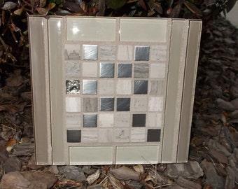 """Tan Mocha Glass Stainless Steel Beachwood Mosaic Tile Trivet 6 1/2"""" x 6"""""""