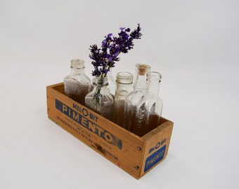 Clear Bottles with Wooden Cheese Box Display, Apothecary