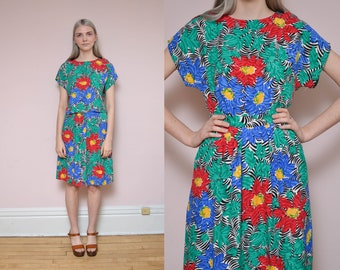 80s Tropical Print Crop Top High Waist Skirt Set M Botanical Floral Print Geometric Novelty Print Colorful Separates Blouse Top Midi Skirt