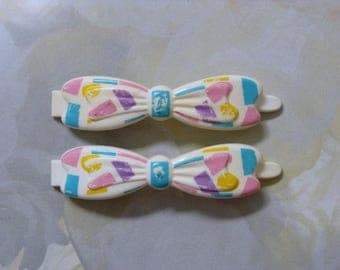 1987 ~ Goody ~ Vintage ~ Hair Barrette Set ~ Bows ~ White With Pastels ~ Snap-Tight ~ Plastic