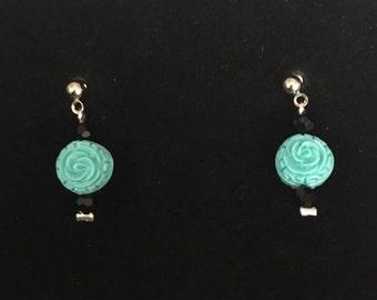 Aqua and Black Floral Beaded Dangle Earrings