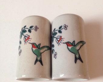 Vintage Antique Hummingbird Salt and Pepper Shakers