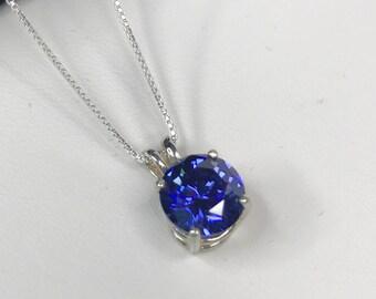 Beautiful 2ct Tanzanite & Sterling Silver Pendant Necklace Solitaire Fine Round Tanzanite Pendant Brilliant Trending Jewelry Gift Mom Wife
