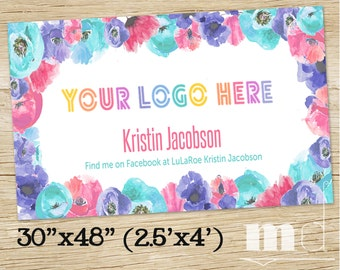 """Small Business Consultant Banner, Custom Banner 2.5'x6' or 2.5'x4', Consultant Shop Sign, Lula Roe Floral Banner 30x72"""" or 30x48"""", PRINTABLE"""