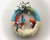 Winter  Wreath . Needle Felted. Waldorf.Wool.snow,