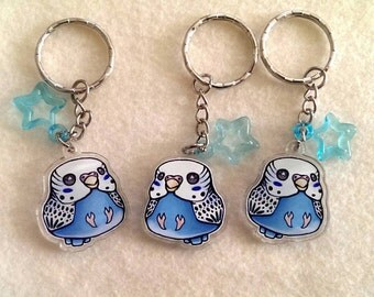 "Blue White Budgie Keychain, DOUBLE SIDED 1"" Acrylic Keychain, Cute Bird Keychain, Stocking Stuffer, Gift for Bird Lover, Bird Gift, Parakeet"