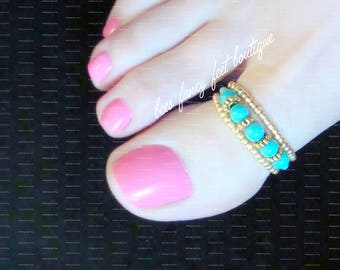 Big Toe Ring | Turquoise Pearls | Gold Beads and Daisies | Stretch Bead Toe Ring