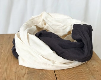 Double Gauze Infinity Scarf in Cream and Charcoal