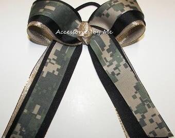 Green Gold Camo Bow, Ponytail Holder, Digi Green Black Gold Cheerbow, Cheer Camouflage Ribbon Hairbow, Army Spirit Bows, Softball Hair Bows