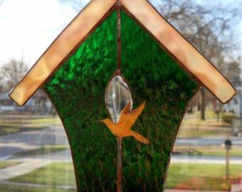 Green Stained Glass Birdhouse Suncatcher