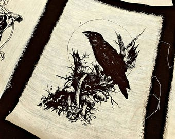 Raven guardian of death  screen print patches
