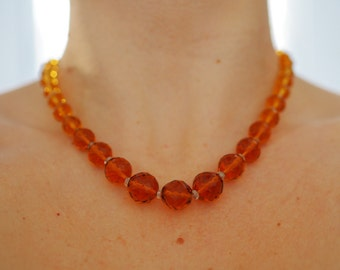 SALE Vintage amber crystal glass bead necklace 1950s mid-century necklace faceted