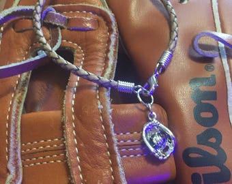 Take Me Out to the Ballgame Braided Leather Bracelet
