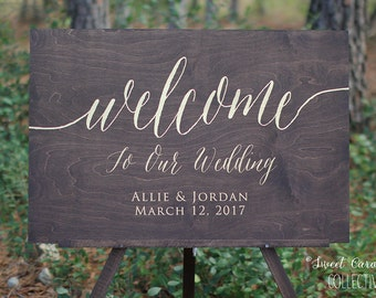 Custom Rustic Wedding Welcome Sign with Gold Writing Writing | Custom Welcome Wedding Sign | Rustic Welcome Sign | Wedding Decor - WS-241