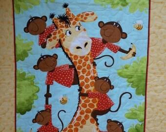 Giraffe Monkeys Crib Nursery Toddler Nursery Baby Crib Bedding Baby Shower Present New Baby Gift Crib Ensemble Gender Neutral Gift Playmat