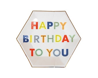 Happy Birthday To You, Small, Paper Plates, Meri Meri, Party Decor, Birthday Party Supplies, Tableware, Plates and Napkins