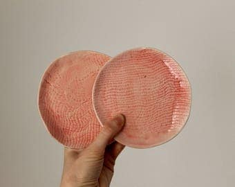 Ring dish Soap dish Stoneware texture handbuilt little plate Pink glaze - Ready to ship