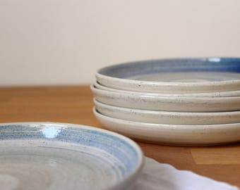 Small plate Stoneware Wheel thrown small plate Speckles Blue brushstroke- Ready to ship