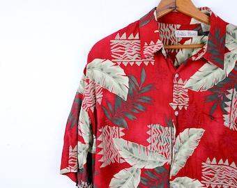 Mens Vintage Hawaiian Shirt Red Hawaiian Shirt Palm Trees Geometric Design Menswear Gifts for Him Hawaii Tropical Summer Shirts 1990s