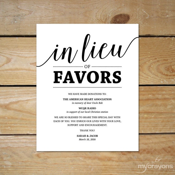 Wording For Money In Lieu Of Wedding Gifts: Wedding Donation Sign // In Lieu Of Favors Sign Printable