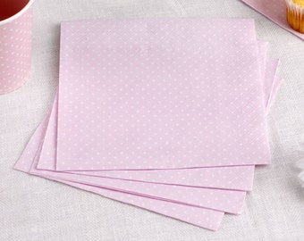 Baby Pink Polka Dot Napkins per for birthday parties, baby showers and weddings