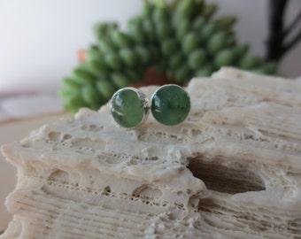 Jade studs, jade stud earrings, green jade earrings, round jade studs, sterling silver jade stud earrings, green stone earrings