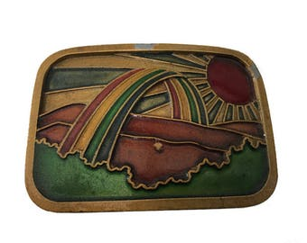 Vintage Colorful Rainbow Sunrise Belt Buckle - Solid Brass - Clouds and Sky - Landscape - Nautical Ocean - Nature - Pot of Gold