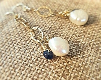 SageAine: Baroque Pearl, Sapphire Gold Earrings,Archangel Metatron, Zadkiel, Wedding, Bridal, Reiki Charged, Crystal Healing, Gift For Her