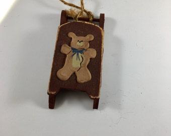 Teddy Bear Sled Ornament