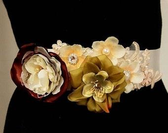 SALE Bridal Sash belt, Sash belt, Wedding Sash Belt, Wedding Belt, Wedding Sash, Flower Sash, bridal sash, Woodland Wedding, Rustic Sash