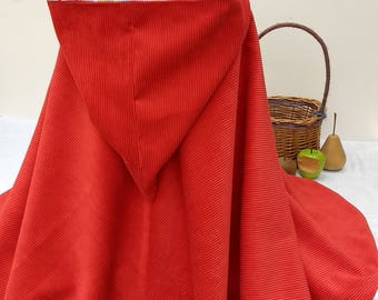 Little Red Riding Hood cape - costume - cloak - flower girl cape - bridesmaid -  age 6 - 8