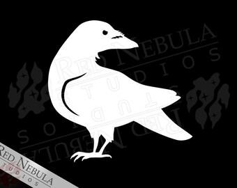 Raven Vinyl Decal, Crow Decal, Corvid Sticker, Raven Laptop Decal, Car Window Decal, Creepy Bird Silhouette, Vinyl Raven Sticker, Car Decal