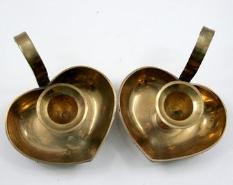 Brass Heart Candle Holders