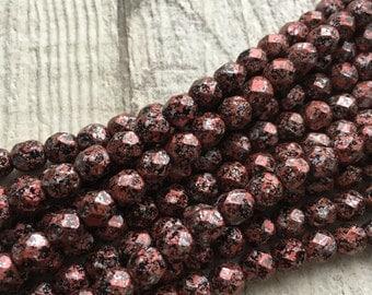 Czech Glass Fire Polished Tweedy Red 6mm Beads x 50