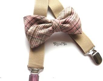 Brown Toddler Elastic Suspender Set, Brown Plaid Suspenders and Bow Tie, Boy's Brown Suspender Set