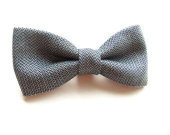 Navy Tweed Bow Tie, Blue Gray Tweed Bow Tie, Navy Bow Tie, Navy Herringbone Bow Tie