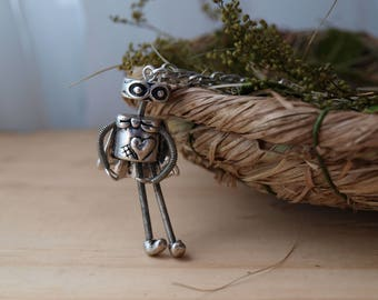 Women's Handmade Antique Silver Superhero Robot Pendant Necklace | Superhero Jewelry | Superhero Necklace | Robot Jewelry | Robot Necklace