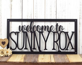 """Custom House Welcome Sign   Home Name Metal Sign   Custom Sign   Personalized Sign   Metal Wall Art   Outdoor Sign   20""""W x 10""""H"""