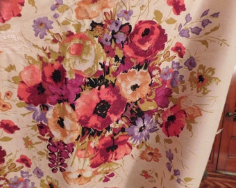 vintage 1970's fabric material heavy 6 yards x 44 inches large floral print
