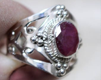 Faceted Ruby Filagree Sterling Silver Ring Size 8